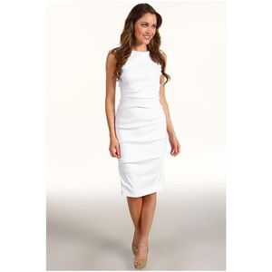 Nicole Miller Lauren Stretch Linen White Dress